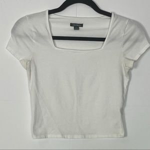WILD FABLE WHITE SHORT SLEEVES CROP TOP